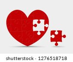 red pieces puzzle of romantic... | Shutterstock .eps vector #1276518718