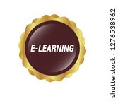 glossy round button with text e ...