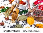 spices and seasonings on the... | Shutterstock . vector #1276568068
