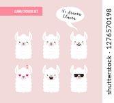 cute doodle characters llamas... | Shutterstock . vector #1276570198