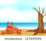 Illustration Of Crabs On A...