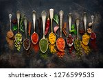 assortment of natural spices on ...   Shutterstock . vector #1276599535
