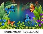 Illustration Of Butterflies In...