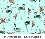 large hipster flamingo blue... | Shutterstock . vector #1276608865