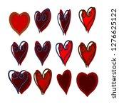 red and burgundy heart shape... | Shutterstock .eps vector #1276625122