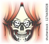 red curtain and human skull in... | Shutterstock . vector #1276650028