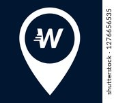 letter w and map pin. logo...