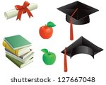 education. mortar boards  books ... | Shutterstock .eps vector #127667048