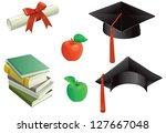 education. mortar boards  books ... | Shutterstock .eps vector #127667048