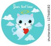 vector white angel cat... | Shutterstock .eps vector #127668182
