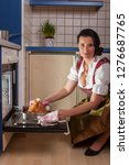 bavarian woman in a dirndl... | Shutterstock . vector #1276687765