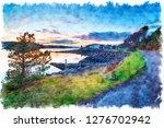watercolour painting of dusk... | Shutterstock . vector #1276702942