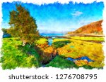 watercolour painting of glenuig ... | Shutterstock . vector #1276708795
