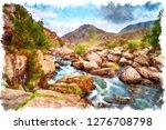 watercolour painting of afon... | Shutterstock . vector #1276708798