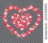 red hearts confetti splash on... | Shutterstock .eps vector #1276709092
