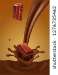 chocolate pieces falling into... | Shutterstock .eps vector #1276735462