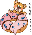 teddy bear jump to pink... | Shutterstock .eps vector #1276737595