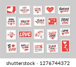 Stock vector love post stamps set love quotes sayings hand drawn lettering and illustration with hearts be 1276744372