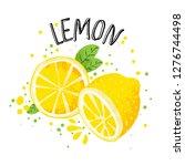 vector hand draw lemon... | Shutterstock .eps vector #1276744498