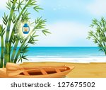 illustration of a boat at the... | Shutterstock .eps vector #127675502