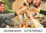 happy friends cheering with... | Shutterstock . vector #1276760062