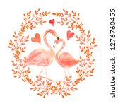 living coral flamingos in love. ... | Shutterstock . vector #1276760455