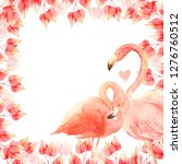 living coral flamingos in love. ... | Shutterstock . vector #1276760512