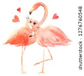 living coral flamingos in love. ... | Shutterstock . vector #1276760548