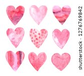 set of hand painted pink and... | Shutterstock . vector #1276769842