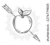 apple target pierced with arrow ... | Shutterstock .eps vector #1276779835