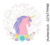 unicorn dream flat on round... | Shutterstock .eps vector #1276779988