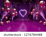 Stock photo valentines day romantic background interior decorated with festive red balloons valentine hearts 1276784488
