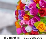 colorful roses paper background. | Shutterstock . vector #1276801078