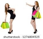 young woman wth bags in... | Shutterstock . vector #1276804525