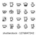 coffee types and tea icons. set ... | Shutterstock .eps vector #1276847242