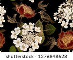 peonies  hydrangea and little... | Shutterstock .eps vector #1276848628