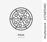 pizza flat line icon. vector... | Shutterstock .eps vector #1276853482