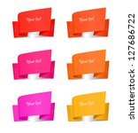 set of origami paper banners ... | Shutterstock .eps vector #127686722