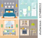 set of rooms with furniture and ... | Shutterstock .eps vector #1276880212