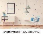 two grey lamps above blue white ...   Shutterstock . vector #1276882942