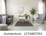 white living room with... | Shutterstock . vector #1276887352