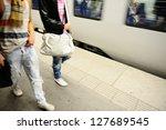 subway passengers walking along ... | Shutterstock . vector #127689545