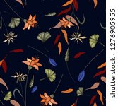 flower pattern hand drawn style ... | Shutterstock .eps vector #1276905955