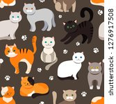 cat background  seamless...   Shutterstock .eps vector #1276917508
