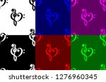 heart   violin and bass clef  ... | Shutterstock .eps vector #1276960345