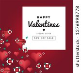 valentines day greeting card.... | Shutterstock .eps vector #1276998778