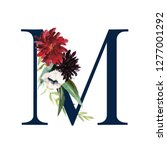 floral alphabet   navy letter m ... | Shutterstock . vector #1277001292