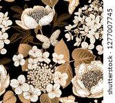 peonies  hydrangea and... | Shutterstock .eps vector #1277007745
