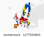 euro zone concept. flag map of... | Shutterstock . vector #1277024842