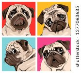 four portrait of a pugs in a... | Shutterstock .eps vector #1277063635